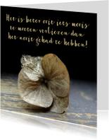 Condoleancekaart, gedroogde bloem verlieskaart