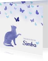 Condoleancekaart Huisdier kat met vlinders