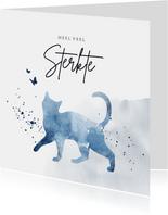 Condoleancekaart huisdier kat waterverf blauw spetters