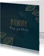 Condoleancekaart met bladeren in goudlook