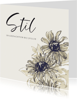 Condoleancekaart met geschilderde zonnebloemen