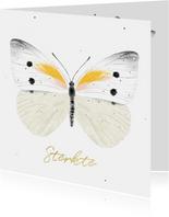 Condoleancekaart met illustratie van een vlinder