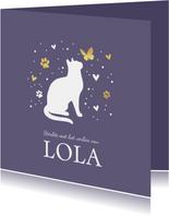 Condoleancekaart met kat, vlinder, hartjes en voetstapjes