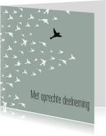 Condoleancekaart 'Met oprechte deelneming' vogels
