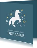 Condoleancekaart met paard, vlinder, hartjes en voetstapjes