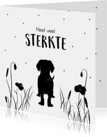 Condoleancekaart met silhouette van een hond
