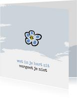 Condoleancekaart met tekening van vergeet-mij-nietje