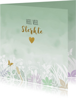 Condoleancekaart met vlinder en hart op groen