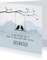 Condoleancekaart met vogels in een boom, sterkte