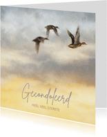 Condoleancekaart met wegvliegende vogels in gele lucht
