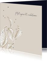 Condoleancekaart minimalistisch met bladeren