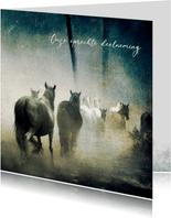Condoleancekaart paarden in mist