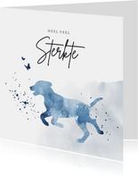 Condoleancekaart silhouet hond waterverf blauw spetters