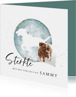 Condoleancekaart silhouette hond waterverf met foto