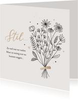 Condoleancekaart sterkte bloemen stil geen woorden hartjes