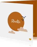Condoleancekaart sterkte met illustratie zon wolk vogels