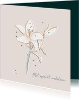 Condoleancekaart stijlvol minimalistisch met Lelie