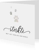 Condoleancekaart stijlvol sterkte hond pootjes verlies