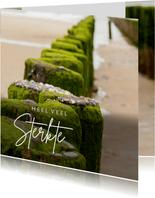 Condoleancekaart strandpaal aan zee