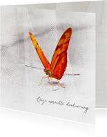 Condoleancekaart vlinder met sluier