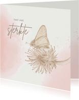 Condoleancekaart - Vlinder op klaverblad