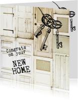 Felicitatiekaarten - Congrats on your new home felicitatiekaart deuren sleutel