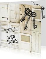 Congrats on your new home felicitatiekaart deuren sleutel