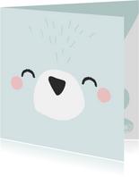 Coole verjaardagskaart met het gezicht van een ijsbeer