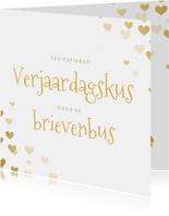 Corona verjaardgskaart - papieren kus door de brievenbus