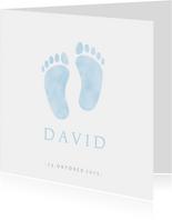 Dankeskarte Geburt klassisch Babyfüße hellblau Foto innen