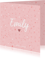 Dankeskarte Geburt Terrazzo-Look rosa Foto innen