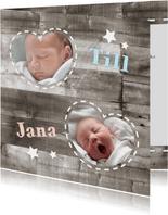 Dankeskarte Holzlook & Fotos Geburt Zwilling