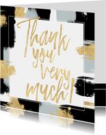 Dankeskarte mit eigenem Foto und gold-schwarzen Farbstreifen