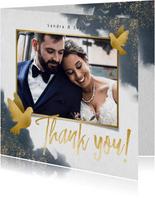 Dankeskarte mit eigenem Foto, Wasserfarben und Tauben