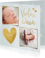 Dankeskarte Taufe blau Fotos & Goldherzen
