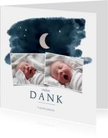 Dankeskarte Taufe Fotocollage Mond & Sternenhimmel