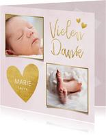 Dankeskarte Taufe rosa Fotos & Goldherzen