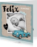 Dankeskarte zur Geburt Foto und Oldtimer