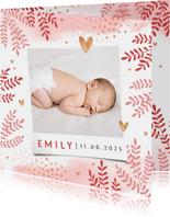 Dankeskarte zur Geburt Foto und rosa Zweige