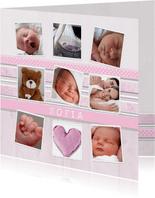 Dankeskarte zur Geburt Fotocollage rosa