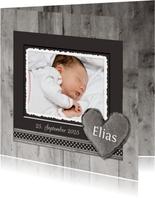 Dankeskarte zur Geburt Holzlook Herz mit Foto