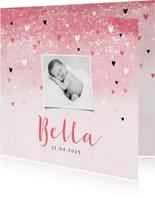Dankeskarte zur Geburt rosa mit Fotos und Herzchen