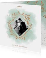 Dankeskarte zur Hochzeit Aquarell mintgrün mit Foto