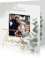 Dankeskarte zur Hochzeit Eukalyptus & Foto
