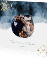 Dankeskarte zur Hochzeit mit Foto im blauen Aquarelldesign