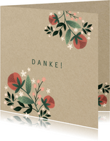 Dankeskarte zur Hochzeit mit Foto im botanischen Look