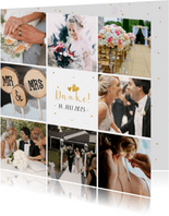 Dankeskarte zur Hochzeit mit Fotocollage und Herzen