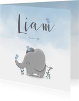 Danksagung Geburt Elefant blau Foto innen