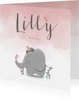 Danksagung Geburt Elefant rosa Foto innen