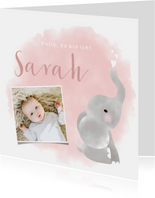 Danksagung Geburt Foto, Elefant Aquarell rosa